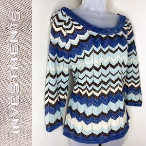 INVESTMENTS Vivid Chevron Patterned Knit Sweater